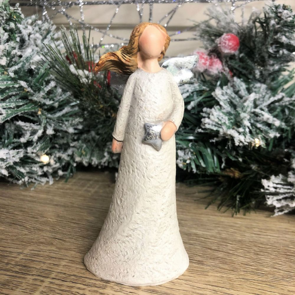 Christmas Angel with Silver Star & Wings Figurine